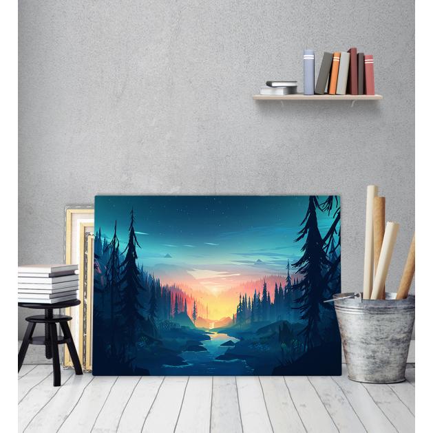 Πίνακας ζωγραφικής σε Καμβά με Δάσος Ποτάμι