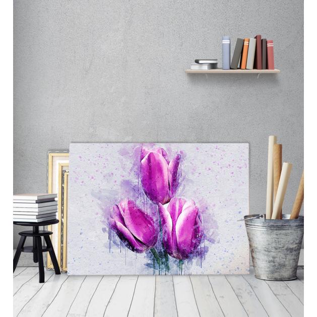 Πίνακας ζωγραφικής σε Καμβά με Λουλούδια Τουλίπες Φύση