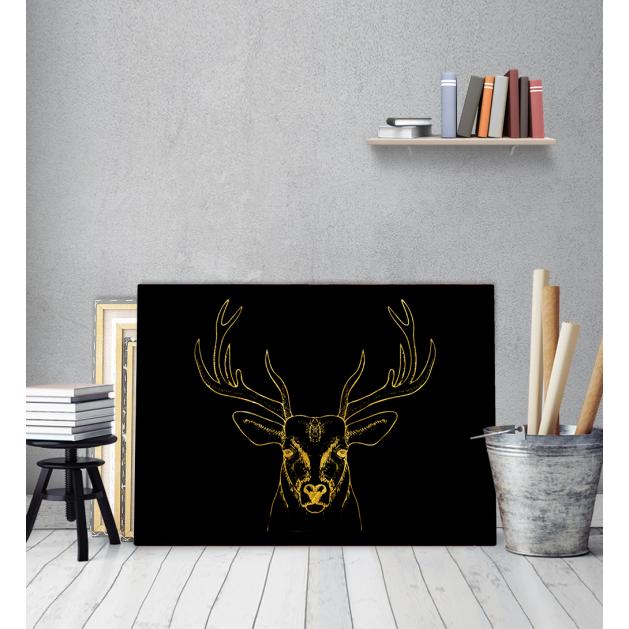 Πίνακας σε Καμβά Gold art deer