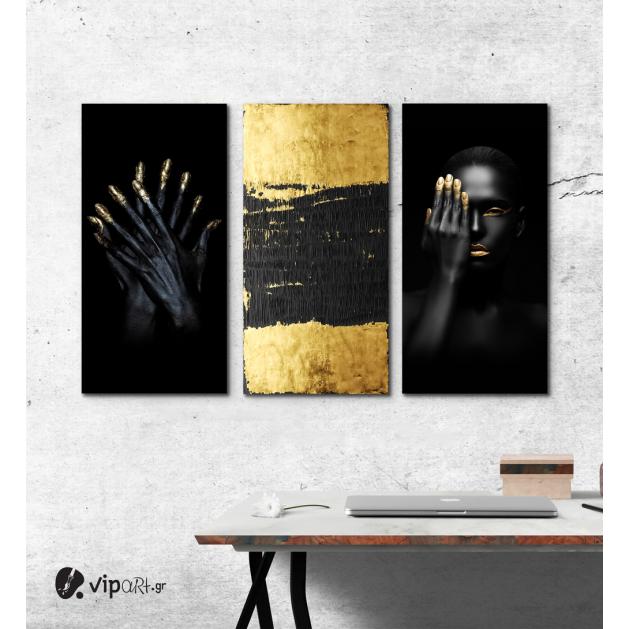 Σύνθεση με Πίνακες σε Καμβά Gold and Black beauty 3 τεμάχια 40x80