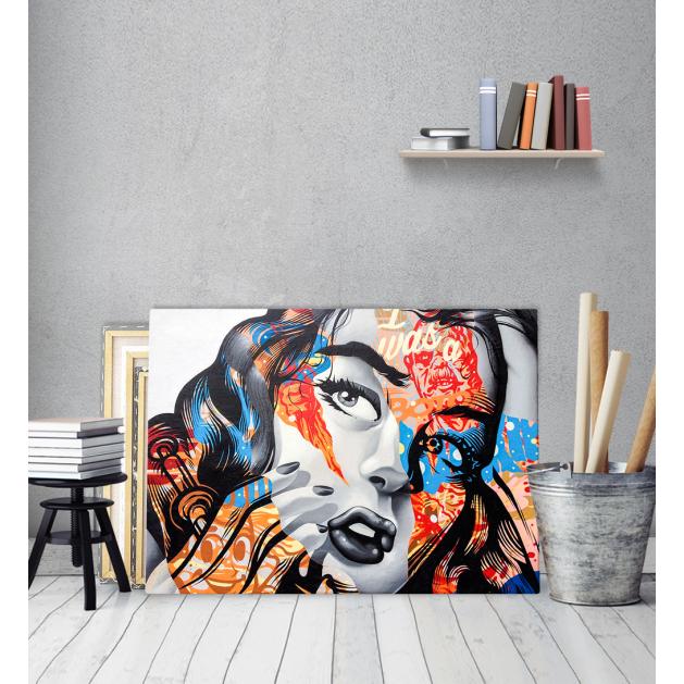 Πίνακας σε Καμβά colorful graffiti girl