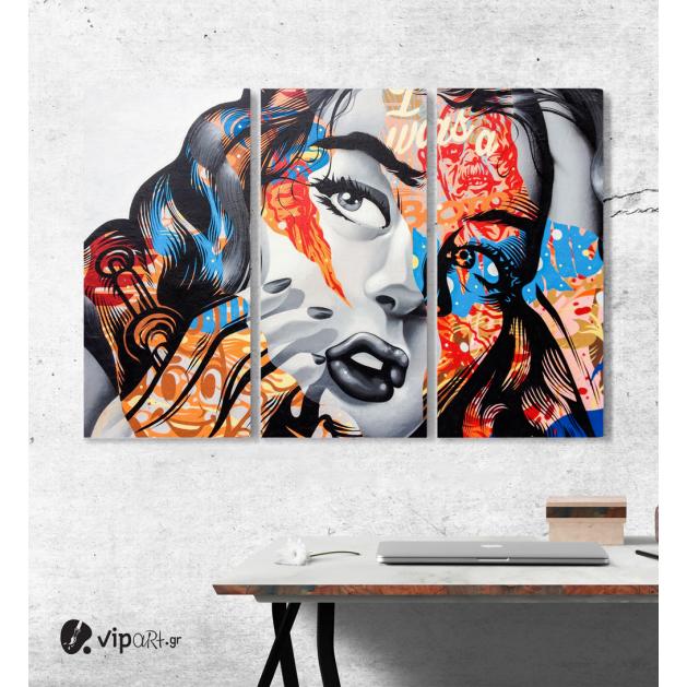 Μοντέρνος Τρίπτυχος Πίνακας Καμβάς colorful graffiti girl