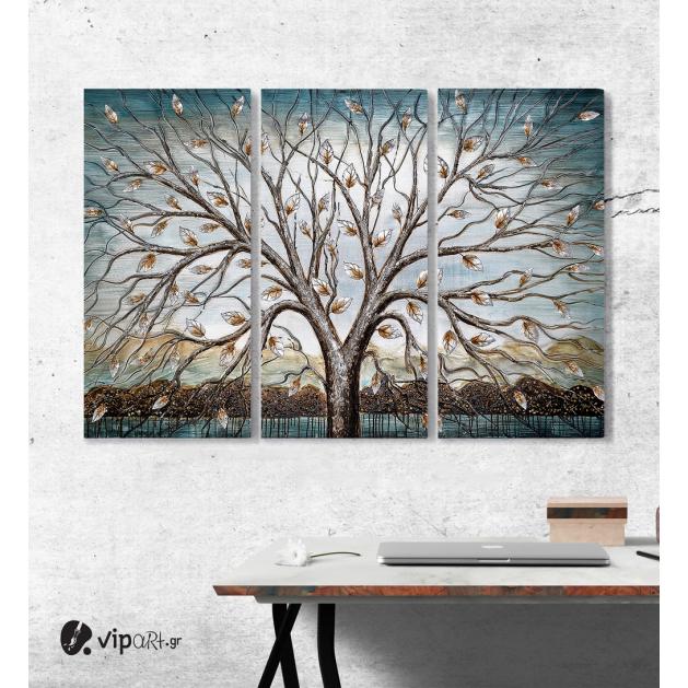 Μοντέρνος Τρίπτυχος Πίνακας Καμβάς ζωγραφικής σε Καμβά με δέντρο φύλλα