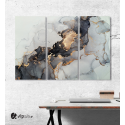 Μοντέρνος Τρίπτυχος Πίνακας Καμβάς Αφηρημένη τεχνική μελάνι αλκοόλ ζωγραφικής με Μαύρες - Λευκές - Χρυσές Αποχρώσεις