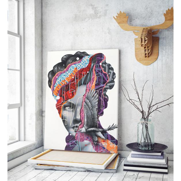 Πίνακας σε Καμβά : modern graffiti woman colors