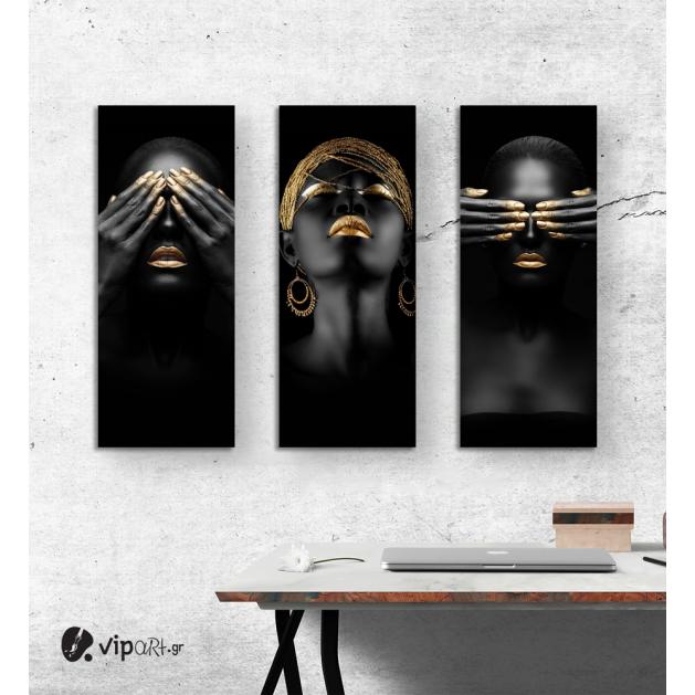Σύνθεση με Πίνακες σε Καμβά Gold and Black beauty portraits 3 τεμάχια 40x100