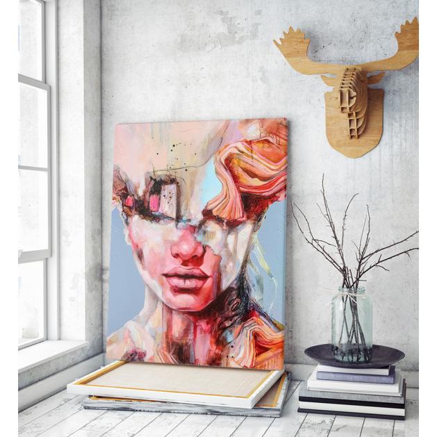 Πίνακας σε Καμβά : mystery portrait painting woman colorful