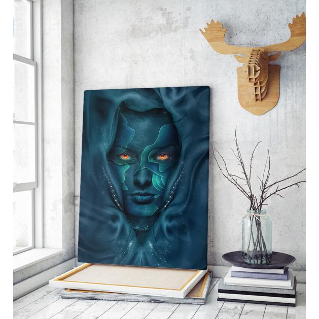 Πίνακας σε Καμβά : woman portrait blue face red eyes