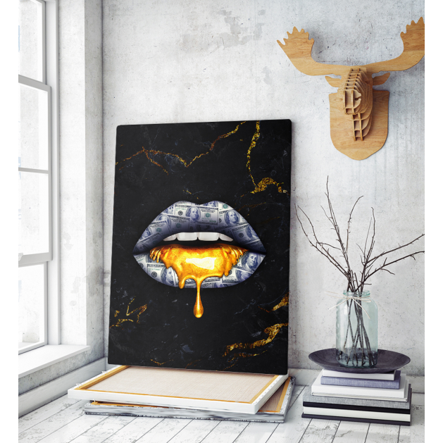 Πίνακας σε Καμβά : Lips dripping gold