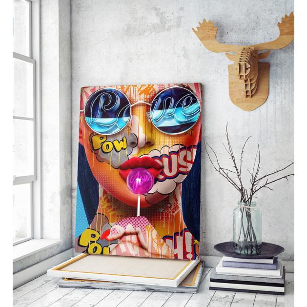 Πίνακας σε Καμβά : Colourful woman portrait with sunglasses