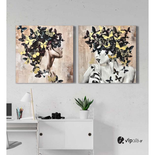 Σύνθεση Με Πίνακες Καμβάδες 60x60 - 2 Τεμάχια - women butterfly