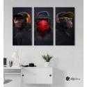 Σύνθεση με Πίνακες σε Καμβά 3 monkeys 3 τεμάχια 40x80