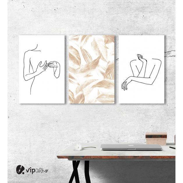 Σύνθεση Με Πίνακες Καμβάδες 60x40 - 3 Τεμάχια - Minimal woman Flower