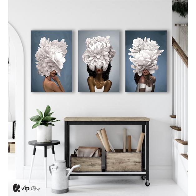 Σύνθεση Με Πίνακες Καμβάδες 60x40 - 3 Τεμάχια - blossom & women