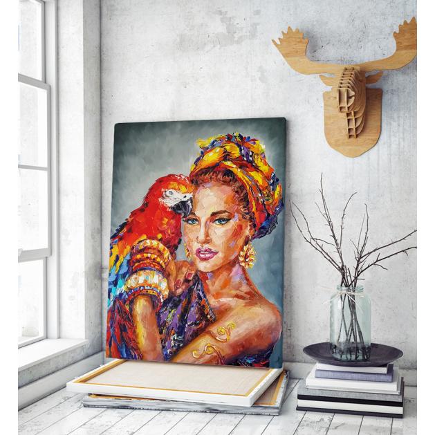 Πίνακας σε Καμβά : woman parrot portrait painting