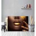 Πίνακας σε Καμβά : woman gold makeup