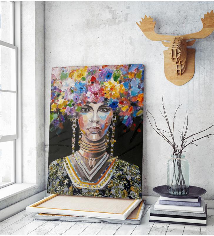 Πίνακας σε Καμβά : woman portrait painting with colorful hair flowers