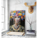 Πίνακας σε Καμβά : woman portrait painting with colorful hair flowers
