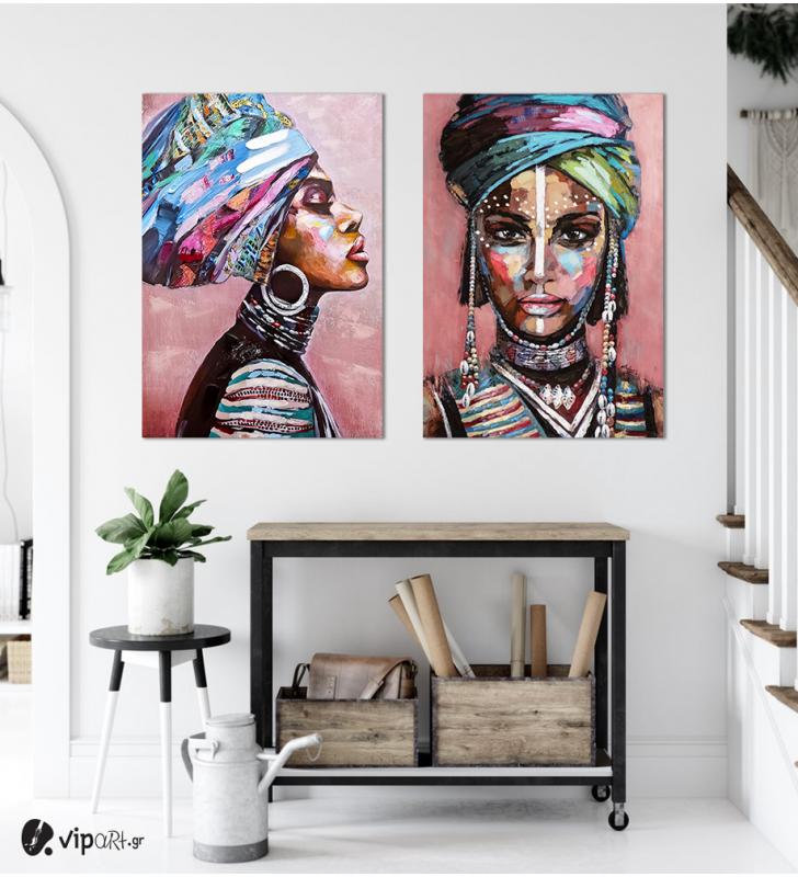 Σύνθεση με πίνακες Καμβάδες : Desert Lady In A Turban Painting - 2 Τεμάχια 70x 50