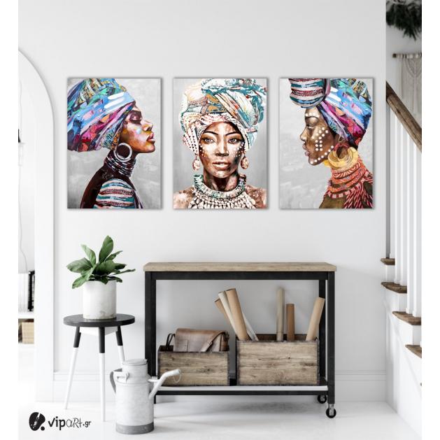 Σύνθεση Με Πίνακες Καμβάδες 70x50 - 3 Τεμάχια - African women