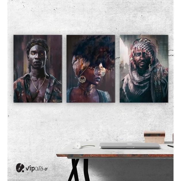 Σύνθεση Με Πίνακες Καμβάδες 70x50 - 3 Τεμάχια - Art Faces