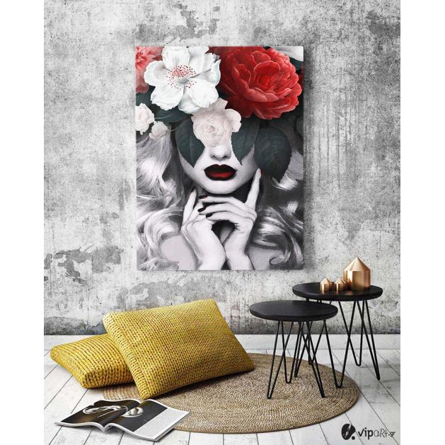 Πίνακας σε Καμβά : Minimal creative with woman and flowers