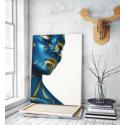 Πίνακας σε Καμβά : woman makeup blue and gold