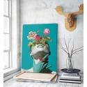 Πίνακας σε Καμβά :  Minimal creative woman flowers cyan