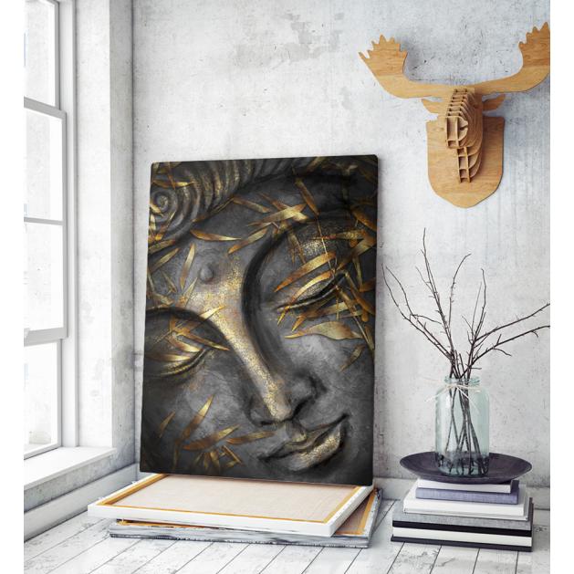 Πίνακας σε Καμβά : buddha black and gold