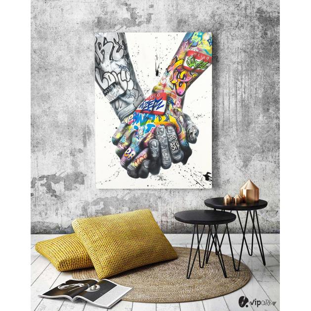 Πίνακας σε Καμβά : Lover Hands Graffiti
