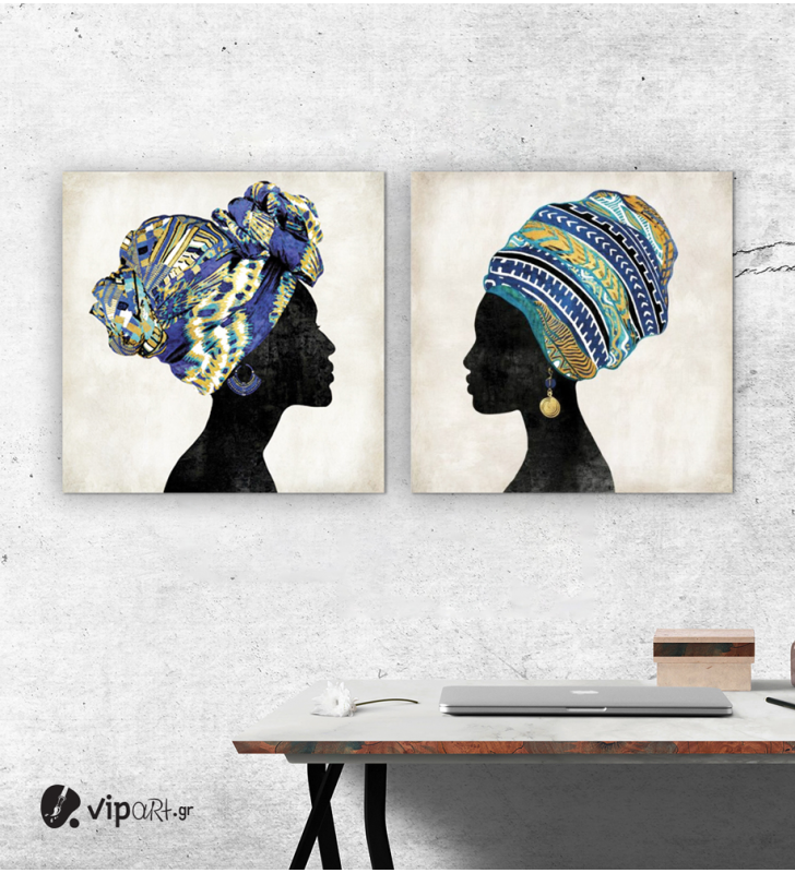 Σύνθεση Με Πίνακες Καμβάδες 60x60 - 2 Τεμάχια - African Women 2