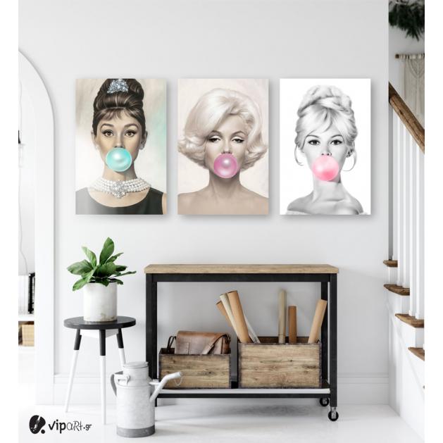 Σύνθεση Με Πίνακες Καμβάδες 60x40 - 3 Τεμάχια - marilyn monroe audrey hepburn Brigitte Bardot bubble gum