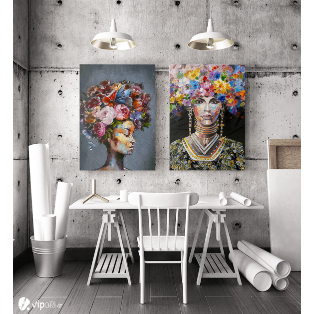 Σύνθεση με πίνακες Καμβάδες : Portrait Women colourful hair - 2 Τεμάχια 70x 50