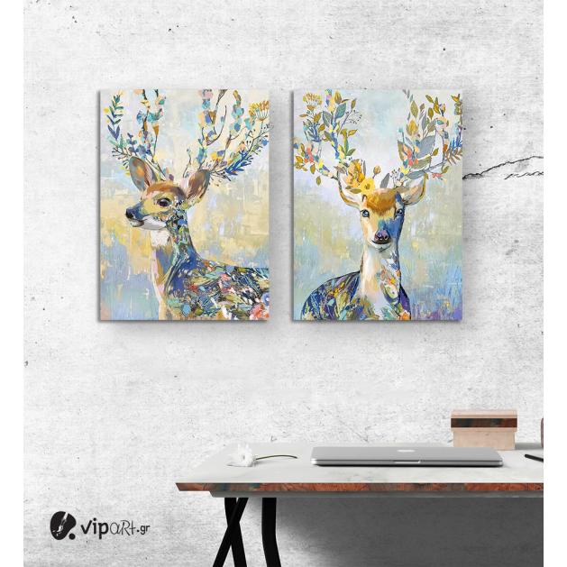 Σύνθεση με πίνακες Καμβάδες : colourful deer - 2 Τεμάχια 70x 50