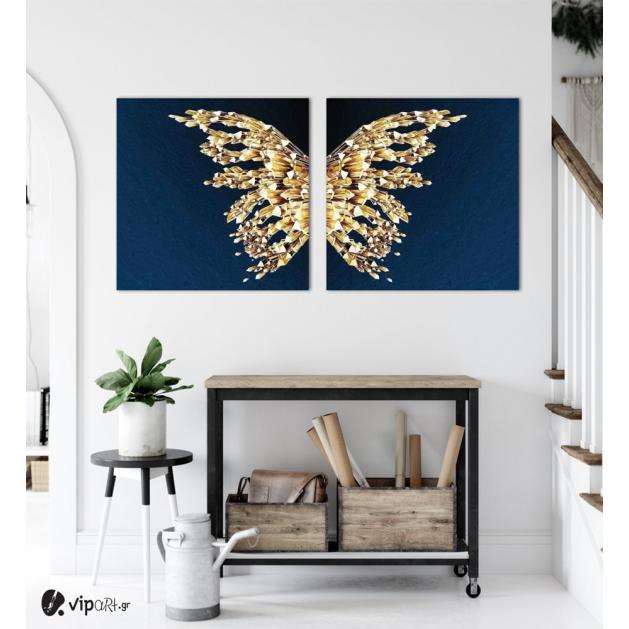 Σύνθεση Με Πίνακες Καμβάδες 60x60 - 2 Τεμάχια - blue and gold butterfly