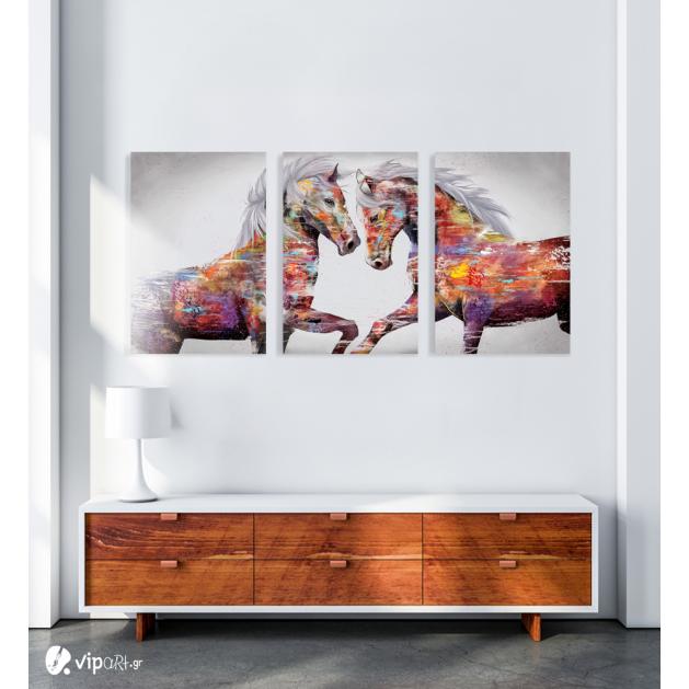 Σύνθεση Με Πίνακες Καμβάδες 70x50 - 3 Τεμάχια - colourful art horses