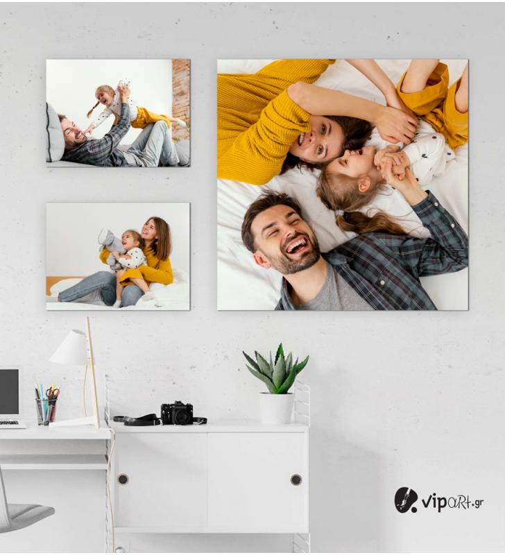 Σύνθεση με πίνακες Καμβάδες με δικές σας φωτογραφίες 40x30 - 2 Τεμάχια - 70x70 1 Τεμάχιο