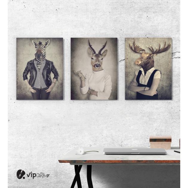 Σύνθεση Με Πίνακες Καμβάδες 30x40 - 3 Τεμάχια - Animal Heads