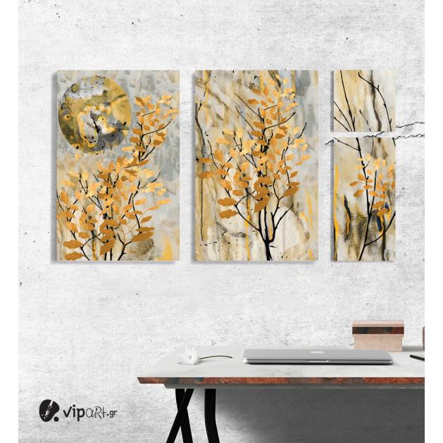 Σύνθεση Με Πίνακες Καμβάδες Κίτρινα - χρυσά Κλαδιά 4 τεμάχια