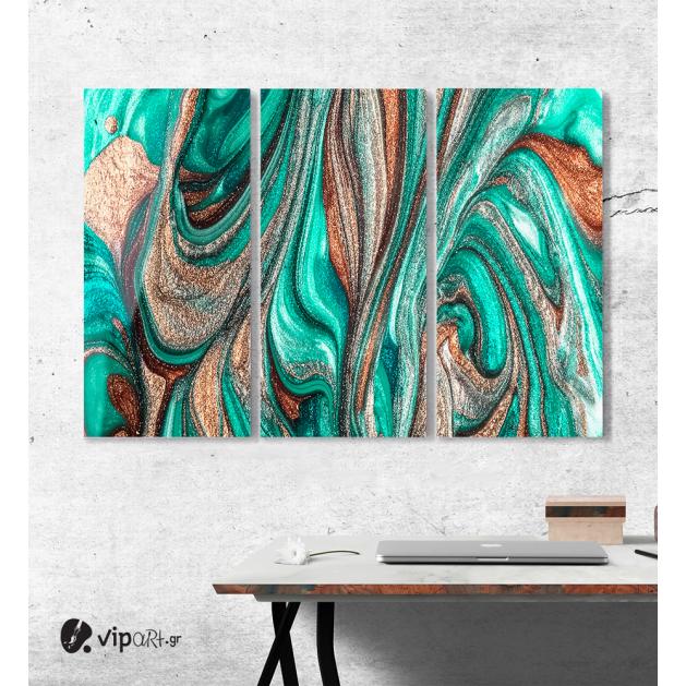 Πίνακας Καμβάς Τρίπτυχος Abstract colorful glitter