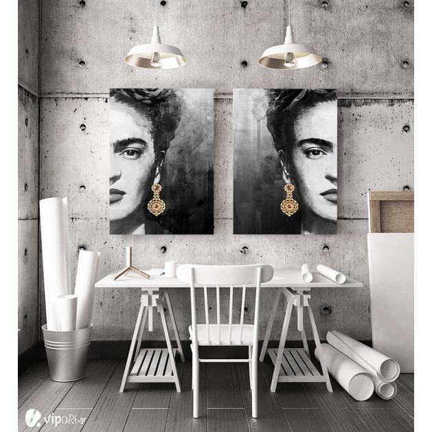 Σύνθεση με πίνακες Καμβάδες : Frida Kahlo Portrait Half Face - 2 Τεμάχια 70x 50