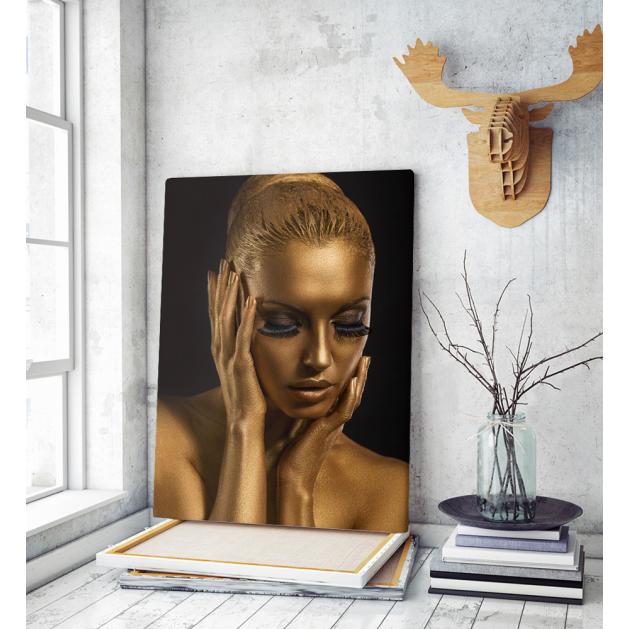 Πίνακας σε Καμβά : Gold woman portrait