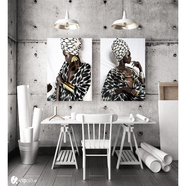 Σύνθεση με πίνακες Καμβάδες : African Women Fashion - 2 Τεμάχια 70x50