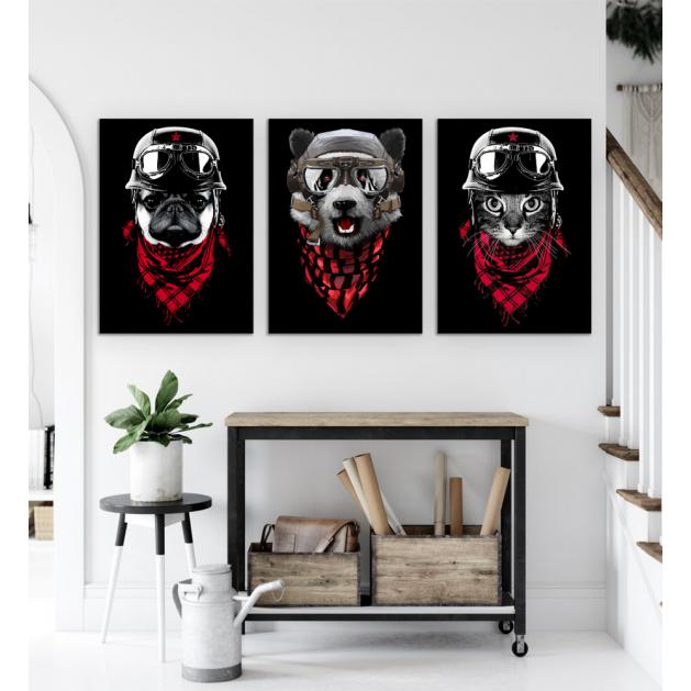 Σύνθεση Με Πίνακες Καμβάδες 70x50 - 3 Τεμάχια - Animals Adventure Red Scarf