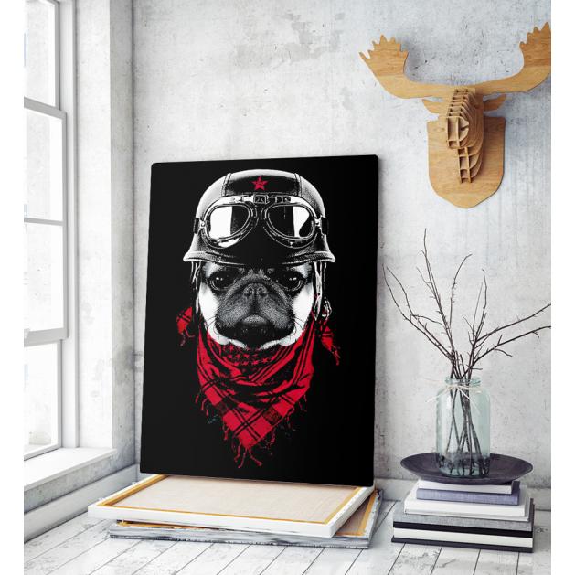 Πίνακας σε Καμβά : Dog Adventure Red Scarf