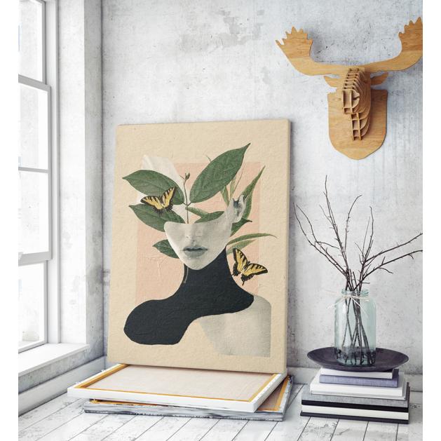 Πίνακας σε Καμβά : Butterflies Woman Collage