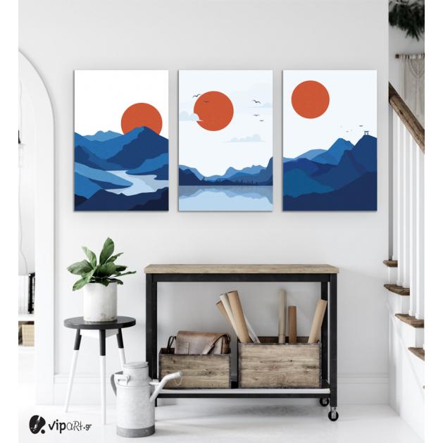 Σύνθεση Με Πίνακες Καμβάδες 60x40 - 3 Τεμάχια - Mountain Sunset Minimalist
