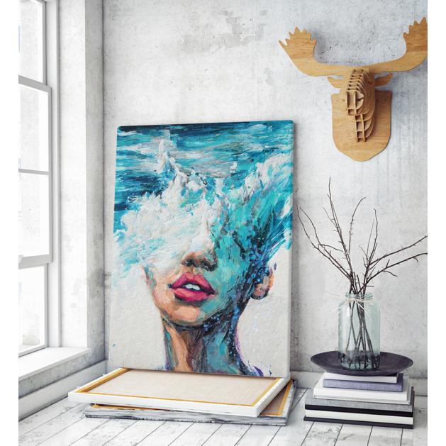 Πίνακας σε Καμβά : Waves portrait painting art
