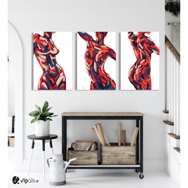 Σύνθεση Με Πίνακες Καμβάδες 60x40 - 3 Τεμάχια - Female Body Art
