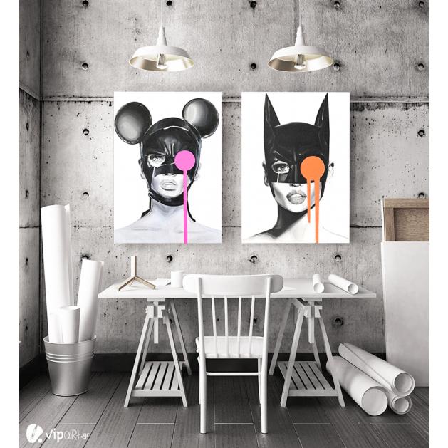 Σύνθεση με πίνακες Καμβάδες : Mask Catwoman and Mini - 2 Τεμάχια 70x50